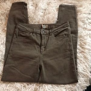 Topshop Jaime Moto in army green
